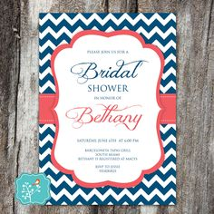 Bridal Shower Invitation, Couples Shower, Chevron Invitation, Navy, Coral, Nautical, Wedding, PRINTABLE, DIGITAL FILE by AFlairForPaper on Etsy
