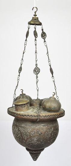 19th C. ANTIQUE ARABIC ISLAMIC HANGING BRASS MOSQUE LAMP EGYPT PERISAN ARAB
