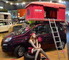 How's that for a color match! Autohome Maggiolina Roof tent on the mini Fiat Panda...