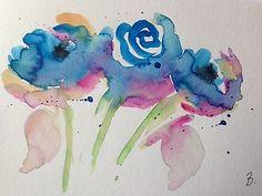 "Aquarell , Aquarellpostkarte "" Mohnblumen ""14,8 x 10,6 cm , Unikat"