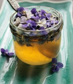 Mmm..Violet Honey...raw honey + edible flowers = <3