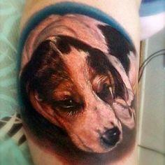Big Gus - color realistic portrait of dog tattoo.