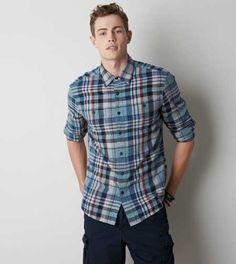 AEO Plaid Flannel Button Down Shirt