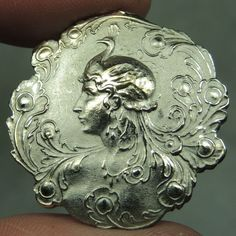 SILVERED BRASS PICTURE BUTTON ~ LADY W/ ART NOUVEAU PEACOCK HAT