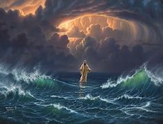 Jesus & Pater walked on water. Walk in Faith don't look at the storm before you. Remain FOCUS on Jesus in the midst of the storm. Keep the FAITH. Image Jesus, Art Amour, Pictures Of Christ, Pictures Of Jesus, Prophetic Art, Biblical Art, Jesus Is Lord, Lord Lord, Bible Art