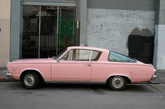 "This Pink Barracuda Features a ""Fast Back"" Slant Rear Window"