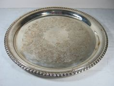 Vintage SILVERPLATE TRAY Serving or Cake Plate by LavenderGardenCottag