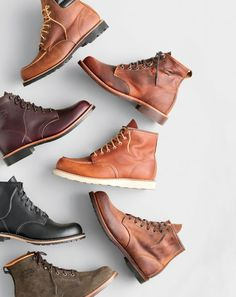 "Red Wing® 6"" classic moc-toe boots, original Chippewa® for J.Crew plain-toe Renegade boots, Chippewa® for J.Crew leather plain-toe boots, Red Wing® 6"" moc-toe 875 boots, Red Wing® for J.Crew Beckman boots and original Chippewa® for J.Crew suede plain-toe boots."