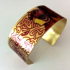 Mucha Irish Art Jewellery Celtic Cuff Bracelet by GalwayGirlGifts Gold Bangles, Bangle Bracelets, Handmade Jewelry, Unique Jewelry, Handmade Gifts, Jewelry Art, Jewellery, Irish Art, Celtic