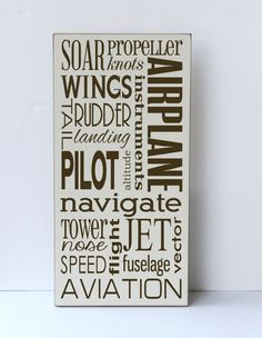 Airplane Subway Art Wood Sign, Children Wall Art, Boy Bedroom Decor,Nursery Sign, Airplane Decor, Sustainable Home Decor,You Choose Colors on Etsy, $55.00