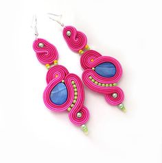 Fuchsia clip on Earrings dangle earrings neon colors by sutaszula
