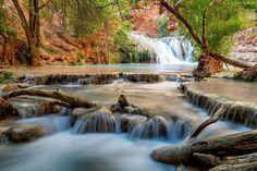 Rzeka, Wodospady, Skały, Las
