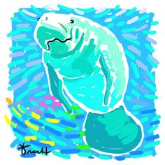 LOVE her art! Going to definitely buy some for the new Apartment! Art Print 11x14 Aqua Manatee by Kelly Tracht Art by trachtart