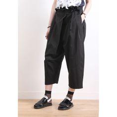 Wrapped Front Wide Leg Pants - Black