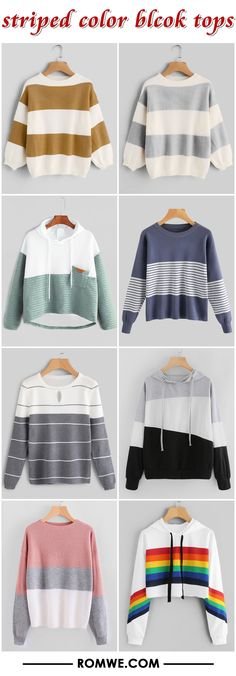 striped color block tops from romwe.com