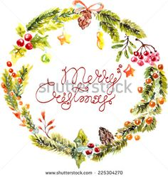 Watercolor Christmas floral frame with text