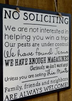 """A """"No Soliciting"""" sign that I handpainted a few months ago, which apparently has worked for the person who bought it! #wordsbydesign #handpainted #woodsigns www.wordsxdesign.com"""