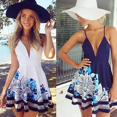 - Sexy summer mini beach dress for the trendy fashionista - Beautiful floral print adds a unique look - Cool casual playful look great for the beach or any casual outing - Available in 2 colors