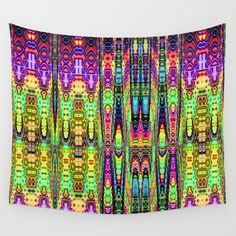 Neon Town Reflections Wall Tapestry
