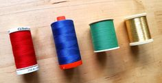"""* Thread spool tip - """"stacked"""" wound goes on vertical spool pin, """"cross"""" wound goes on horizontal spool pin"""