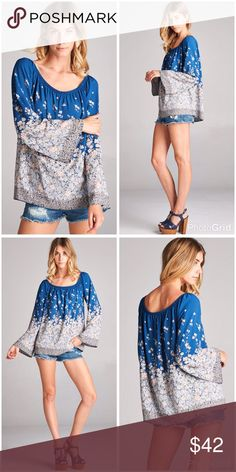 On/off shoulder vibrant blue and gray floral top Long bell sleeves, open shoulder/square neck top with floral border print detail Tops
