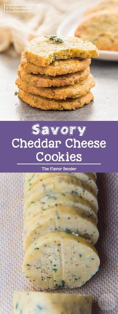 Thyme and Cheddar Cheese Cookies - These slice and bake savory cookies are easy to make and delicious! Perfect as appetizers or as snacks. Informations About Thyme and Cheddar Cheese Cookies (Savo Easy Cookie Recipes, Great Recipes, Baking Recipes, Slice And Bake Cookie Recipe, Cheese Cookies Recipe, Cookie Ideas, Easy Recipes, Chocolate Chip Shortbread Cookies, Toffee Cookies