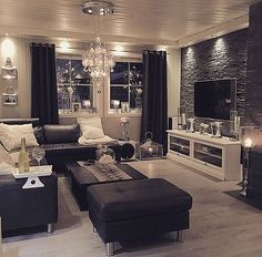 Black And White Living Room Interior Design Ideas | Pinterest ...