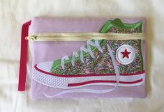 Your place to buy and sell all things handmade Bag Patterns, Flower Patterns, Pink Gingham, Pink Stars, Cotton Quilting Fabric, Applique Designs, Zipper Pouch, School Bags, Pouches