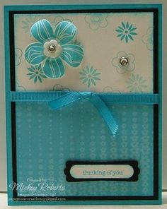 Blue and flower card ~ Tonya, this is CUTE! We should make a version of it!