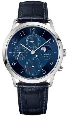 Hermès shows off the Slim D'Hermès Quantième Perpétuel Platine. Who doesn't like a platinum case? Read the full details of this beauty by Zen Love: www.ablogtowatch.com/hermes-slim-dhermes-quantieme-perpetuel-platine-watch/