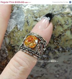 Super Shiny Sale Fire and Ice Fine Silver Handmade Ring  by MyWiredImagination