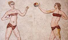 Ancient roman bikini girls of Villa del Casale in Sicily