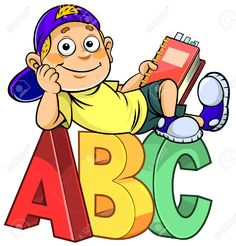 Illustration of Cartoon boy holding a book and sitting on ABC alphabet letters. vector art, clipart and stock vectors. Abc School, School Cartoon, Cartoon Boy, Classroom Walls, Classroom Decor, School Murals, Kids Background, School Painting, School Clipart
