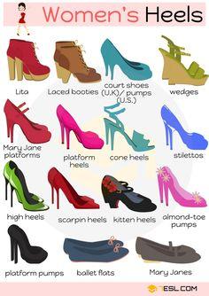 Women's Heels Vocabulary in English | Types of Heels