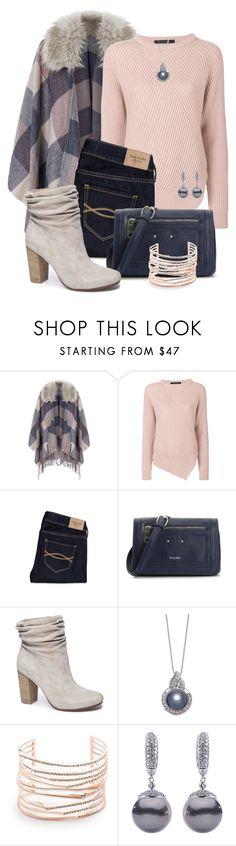 """""""Fur Collared Poncho"""" by jennifernoriega ❤ liked on Polyvore featuring Accessorize, Cédric Charlier, Abercrombie & Fitch, Perlina, Chinese Laundry and Alexis Bittar"""