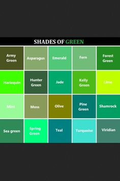 Useful Colour Knowledge Shades Of Green Names Color Chart