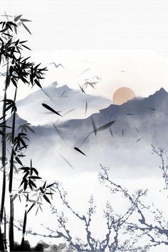 Japanese Artwork, Japanese Painting, Chinese Painting, Pintura Zen, Bg Design, Sumi E Painting, Bamboo Art, Japon Illustration, Samurai Art