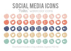 """Watercolor Social Media Icons - Blog Website Buttons - """"Parker"""" Icons for Blog and Website Design"""