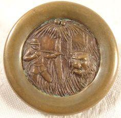 Antique Sewing Large Metal Picture Button Safari Jungle Lion Hunter Copper Brass