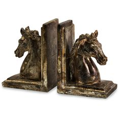 The Quinn Horse Bookends add a collector's touch to your bookshelf. Hand carved, then cast in ceramic and finished in antique bronze. Large and small statues can complete your collection