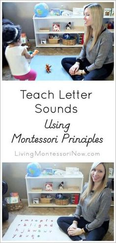 Lots of Montessori phonics resources plus video to help parents teach letter sounds to their children at home. Video tells how to pronounce each letter sound, gives a suggested order for teaching letters, and includes a simple phonics game for toddlers! Montessori Preschool, Montessori Education, Preschool At Home, Maria Montessori, Preschool Learning, Kids Education, Learning Activities, Kids Learning, Baby Activities