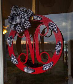 Door Hanger with Monogram – Wooden Initial Door Sign – Red with One Letter and Black and White Houndstooth Ribbon – Personalized Door Décor, Door Hanger with Monogram Wooden Initial Door Sign by thewoodduck. Letter Door Hangers, Initial Door Hanger, Door Letters, Door Plaques, Wooden Door Hangers, Initial Decor, Initial Art, Wooden Initials, Wooden Monogram