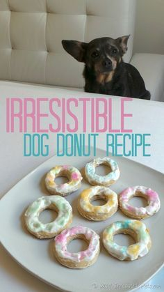Irresistible Dog Donut Recipe.   1 Egg,  2 cups Whole Wheat or Unbleached Flour,  3/4 cup of Beef or Chicken Broth,  3 Tablespoons of Old Fashioned Oats.   Icing:   Non Fat Plain Greek Yogurt,  Honey,  Sprinkles.