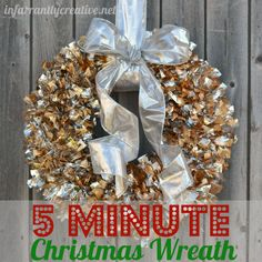 DIY Christmas Decorations | Save time this holiday season by making a 5-minute metallic Christmas wreath! So pretty and so simple!