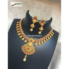 Exquisite Matt Finished Golden Necklace Set ! - Golden Matt finished, Neck fitted, Triangular shaped pendant, Stone and Pearl work.