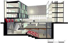 Ampliación Facultad de Arquitectura, Arte y Diseño UDP,corte fugado