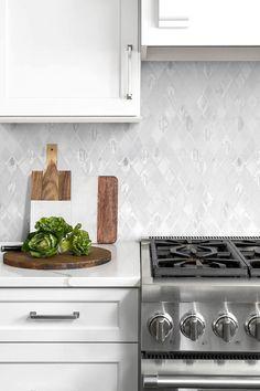 White Kitchen Cabinet Countertop With White Backsplash Tile