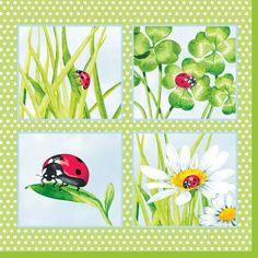 """Servietten, 3-lagig 1/4-Falz 33 cm x 33 cm """"Ladybird green""""   Servietten Frühling & Ostern   Servietten nach Jahreszeiten   Servietten Shop Fachhandel"""