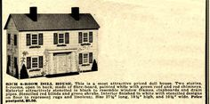 The advertisements above for RICH factory-made Colonial dollhouses are from the November 1947