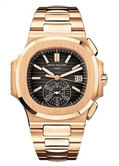 A striking two-tone Patek Philippe chronograph with date display, look at the Nautilus watch with a blue dial, steel and rose gold bracelet. Patek Philippe, Mens Rose Gold Watch, Skeleton Watches, Beautiful Watches, Nice Watches, Seiko Watches, Nautilus, Luxury Watches For Men, Sport Watches